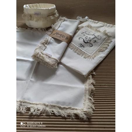 Set Lovely Mesa Premium - Rabat Chic Natural: 4 Inviduales + Panera + Camino + Packaging